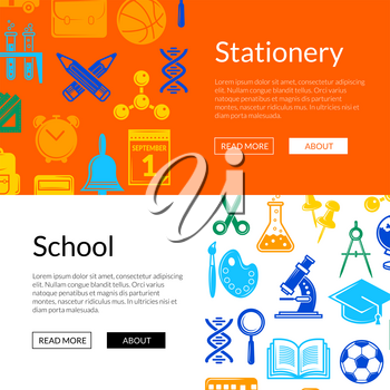Vector back to school stationery web banner templates illustration. Card and page poster