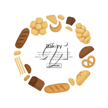 Vector cartoon bakery elements in circle shape with place for text illustration