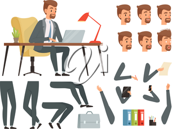 Businessman workspace. Vector mascot creation kit. Various key frames for business character animation. Business man character emotion and gesture, create animation illustration