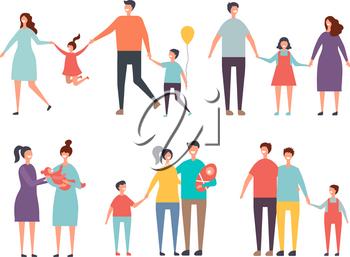 Family couples. Non traditional family homosexual couples male, female. Vector gay couple, family lgbt with kid illustration