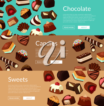 Vector horizontal web banners and poster illustration with cartoon chocolate candies