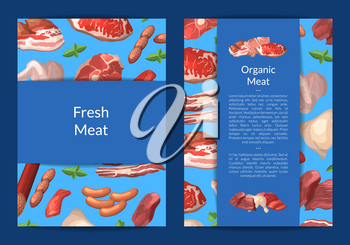Vector cartoon meat elements card, flyer or brochure template for butchers shop or meat company illustration