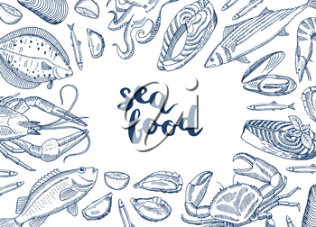 Vector background illustration with hand drawn seafood elements gathered around lettering