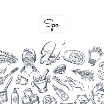 Vector banner and poster hand drawn spa elements background with place for text illustration