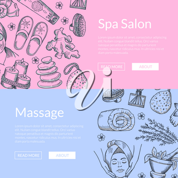 Vector hand drawn spa elements horizontal web banners or poster set illustration