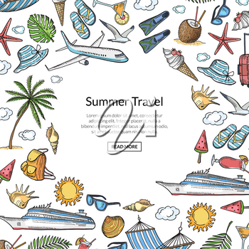Vector hand drawn summer travel elements background with place for text illustration