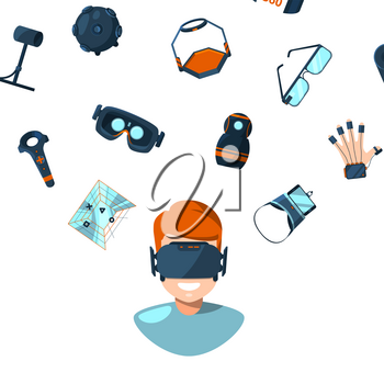 Vector concept illustration with flat style virtual reality elements flying above man person in VR glasses