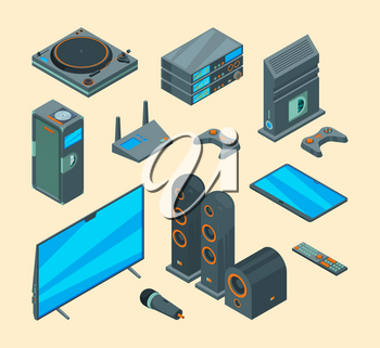 Home entertainment. Electronically tools audio speakers home theatre computer tv systems console gaming vector collection. Tv computer and digital home theater illustration