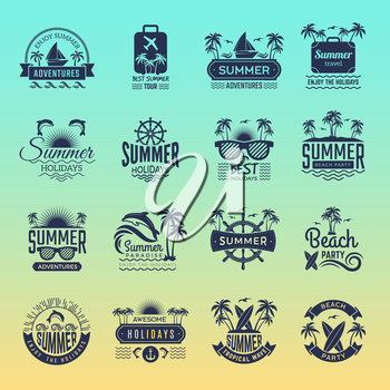 Summer travel logos. Retro tropical vacation badges and symbols palm tree drinks beach tour on island vector pictures collection. Illustration of summer tropical journey badge