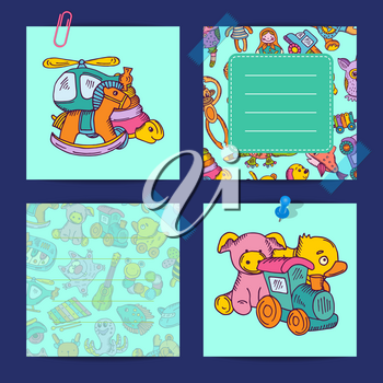 Vector cards for notes set with children colored toys illustration