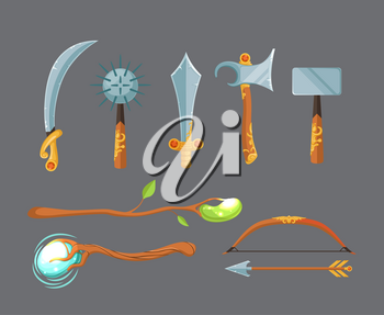 Vector set of fantasy cartoon game design swords, axes, staffs and bow weapon isolated on grey background. Illustration of medieval weapon and magic staff