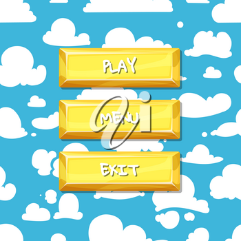 Vector cartoon style buttons with text for game design on clouds in the sky background illustration