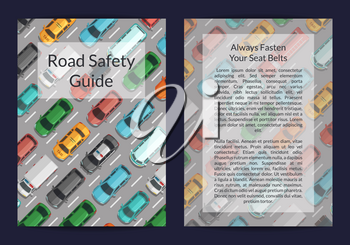 Vector cars on the road top view card or flyer template. Illustration of card road traffic