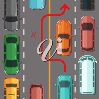 Vector breaking road rule top view cars on the road illustration