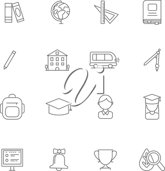 School line icons. Science various symbols. Education book, study and graduation, learning college, vector illustration
