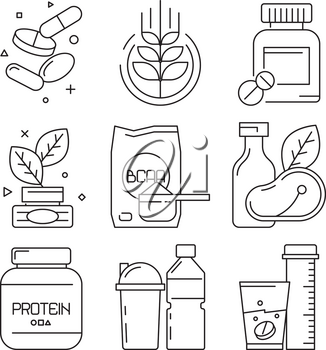 Sport medication icons. Whey multivitamin pills drinks supplement dietary fitness food vector linear symbols. Protein and bcaa, supplement to workout training, container with powder illustration
