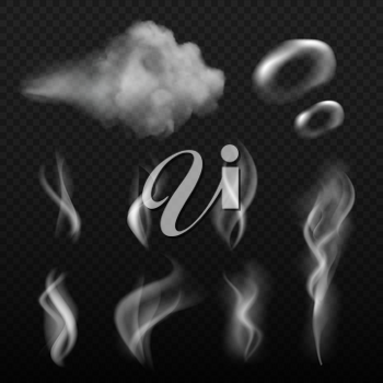 Steam and smoke. Vape shapes hot kitchen smell vector realistic pictures. Illustration of smell and smoke cloud, abstract odour and vapor