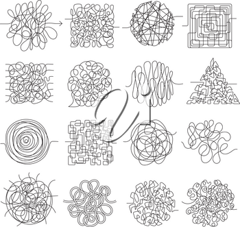 Scribble lines. Wire mess chaos threading vector shapes isolated. Wire knot chaotic, chaos scratch illustration