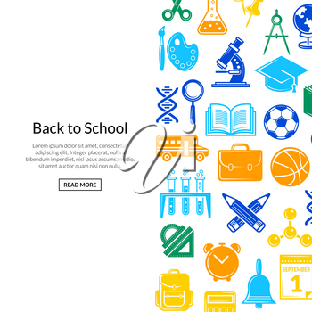 Vector back to school stationery background illustration. Banner and poster colored