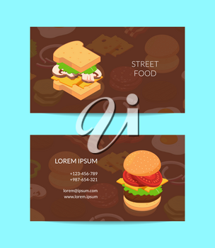 Vector isometric burger ingredients business card template for cafe or street food truck illustration