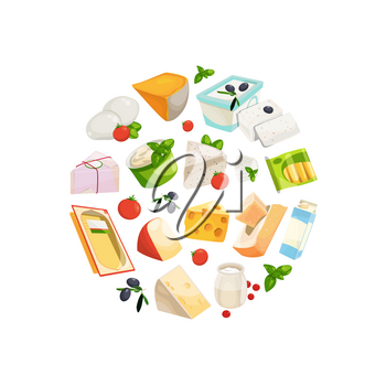 Vector cartoon dairy and cheese products in circle shape illustration isolated on white