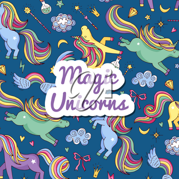 Vector colored cute hand drawn magic unicorns and stars clouds in sky background with place for text illustration