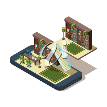 Online library. Books learning students reading magazine at smartphone study e book vector isometric concept. E-library on smartphone, knowledge database education illustration