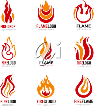 Flame logo. Burning fire graphic symbols for business identity vector collection. Illustration fire and burn logo, flame icon power