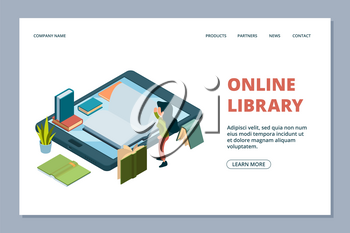 Online library landing page. Isometric books and reading girl vector illustration. Library in smartphone. Online book school, girl study at computer device
