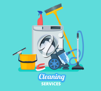 Cleaning service. Household items kitchen spray bucket vacuum cleaner cleaning supplies vector concept background. Sprayer cleanup, broom and mopping, washing housekeeping illustration