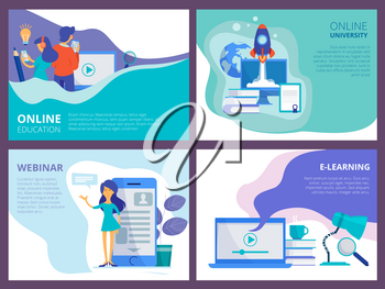 Online education landing. Website promo page template for distance courses or trainings and tutorials vector ui layout. Illustration of training and distance, course and e-learning