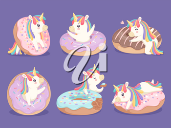 Unicorn dessert. Magic cute little rose pony with donuts cupcakes sweets vector characters. Horse charming with horn, imaginative pony cheerful illustration