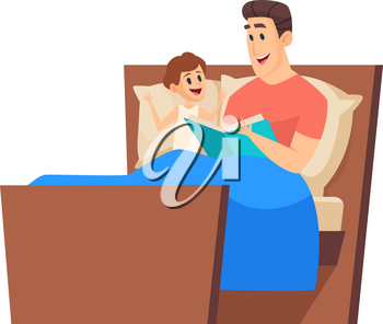 Bedtime story. Father reading to son in bed. Night fairytale, cute boy and man together. Time with daddy vector illustration. Dad bedtime reading book to boy, parent and little kid