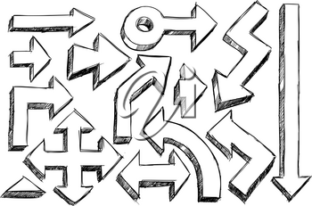 Set of various vector doodle sketch hatched hand drawing three dimensional arrows.