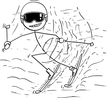 Cartoon stick man drawing illustration of male skiing downhill slope in cold winter sport.