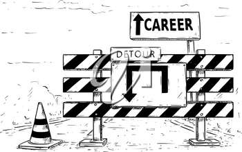 Vector cartoon drawing of road traffic block stop detour with career sign boards.