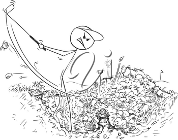 Cartoon stick man drawing illustration of male golf player in hole trying to play ball with club but hitting the grass divot instead.
