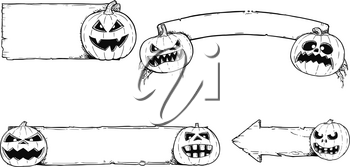 Set of autumn halloween frames and empty signs with hand drawing funny and scary cartoon pumpkin illustrations.