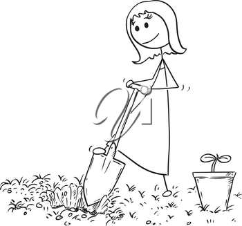 Cartoon stick man drawing illustration of gardener on garden digging a hole for plant with shovel or spade.