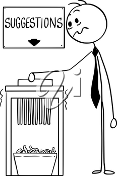 Cartoon stick man drawing conceptual illustration of businessman using office paper shredder with suggestion sign above.