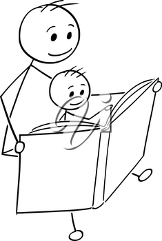 Cartoon stick man drawing conceptual illustration of father or dad reading a book together with son.