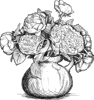 Vector artistic pen and ink hand drawing of rose and peony flower bouquet in vase.