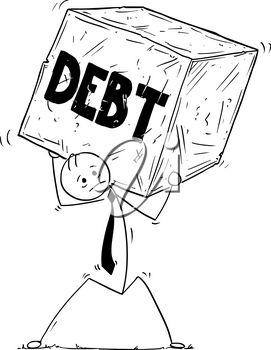 Cartoon stick man drawing conceptual illustration of businessman carrying big block of stone of rock. Concept of business stress from debt.