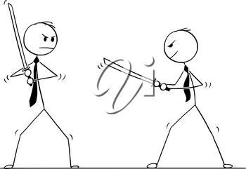 Cartoon stick man drawing conceptual illustration of two samurai businessmen ready to fight with Japanese katana swords.