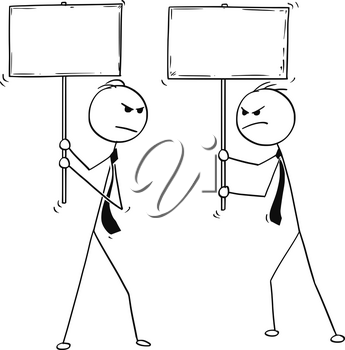 Cartoon stick man drawing conceptual illustration of two arguing angry businessmen with empty or blank signs.