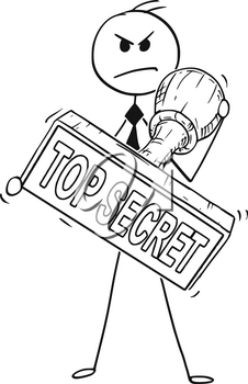 Cartoon stick man drawing conceptual illustration of businessman holding big hand rubber stamp with top secret text. business concept of privacy and concealment .
