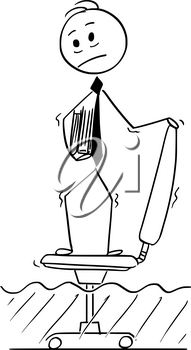 Cartoon stick man drawing conceptual illustration of businessman standing on office chair hiding from rising water. Business concept of ongoing crisis.