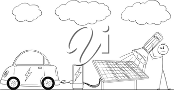 Cartoon stick drawing conceptual illustration of man charging electric car by power from solar power plant during overcast and using flash light as energy source.