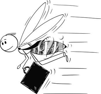 Cartoon stick drawing conceptual illustration of businessman depicted as hardworking insect bee or honeybee in hurry to do more work.
