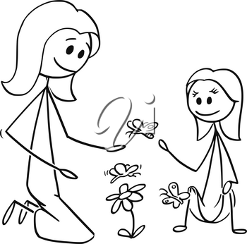 Cartoon stick man drawing conceptual illustration of mother and daughter watching flowers and butterflies or nature together. Concept of parenting.